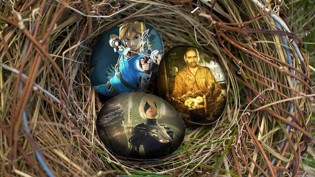 Drei Oster-Eier mit den jeweiligen Spielen darauf.