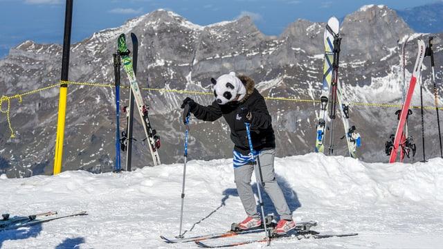 Touristin mit Pandabären-Mütze auf dem Titlis versucht, mit Turnschuhen auf Skiern zu stehen.