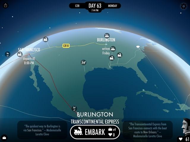 Die Route von San Francisco über Burlington in Richtung Ostküste, Washington, New York.