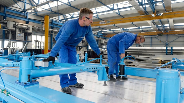 Blick in die Produktion von Stadler in Altenrhein.