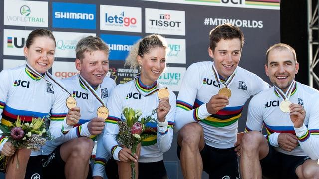 5 ciclists svizzers mussan lur medaglia d'aur