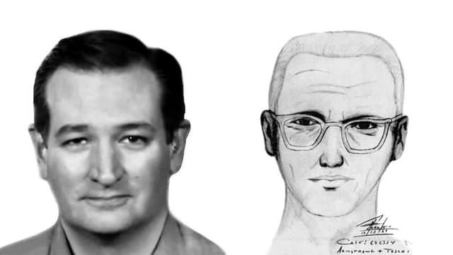 Ein Portrait von Ted Cruz neben einem Polizeibild des Zodiac Killers.