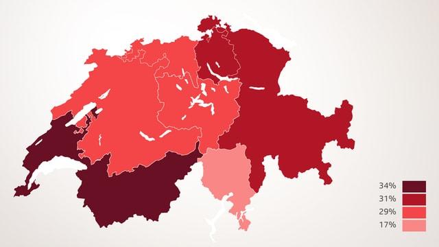 Die Sprachregionen der Schweiz (unterschiedliche Färbungen) zeigen, dass die Welschschweiz deutlich häufiger Risikosportarten betreibt. An zweiter Stelle folgt die Ostschweiz, die Westschweiz und das Mittelland befinden sich auf dem dritten Platz. Am wenigsten üben die Tessiner Risikosportarten aus.