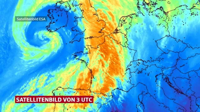 Tiefdruckwirbel südwestlich von Irland in Falschfarben.