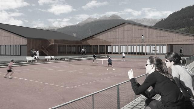 Visualisierung der neuen Sporthalle.