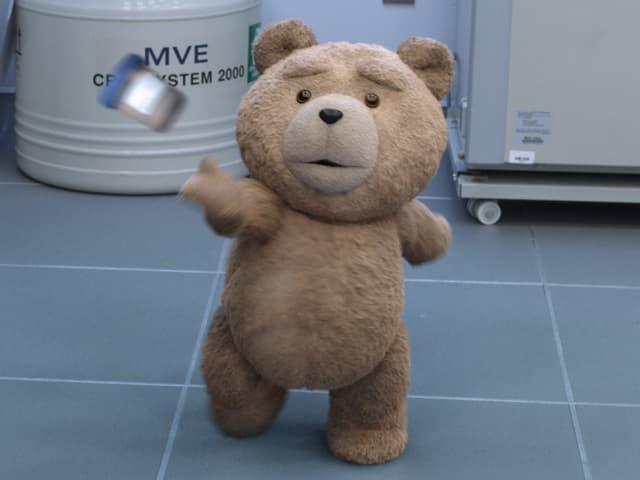 Teddybär Ted in Aktion, wie er seinem besten Kumpel eine mit Spermien gefüllte Labordose zuwirft.