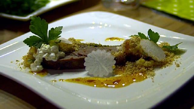 Niedergegartes Siedfleisch und Bierrettich-Apfel-Salat