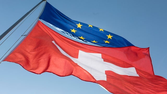 bandieras da l'Uniun europeica e da la Svizra