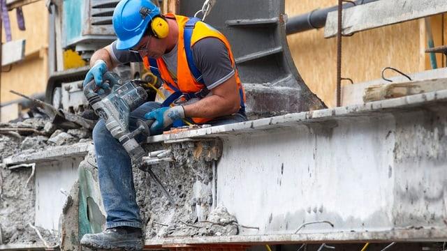 Bauarbeiter auf Baustelle Bahnhof Cornavin, Genf