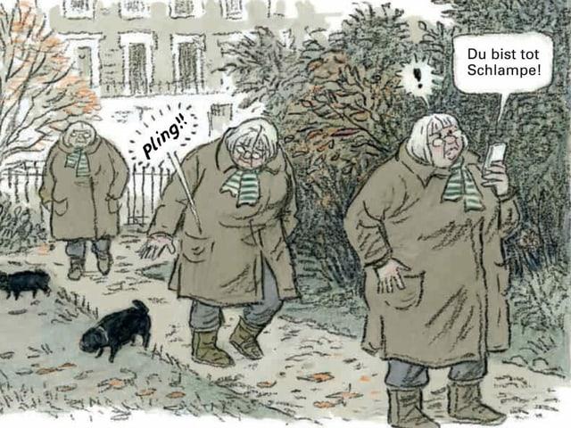 Comic-Zeichnung: Frau mit Mantel, grauen Haaren und Hund bei der Seite läuft einen Parkweg entlang. Sie hält das Mobiltelefon in der Hand, auf dem zu lesen ist: «Du bist tot Schlampe!»
