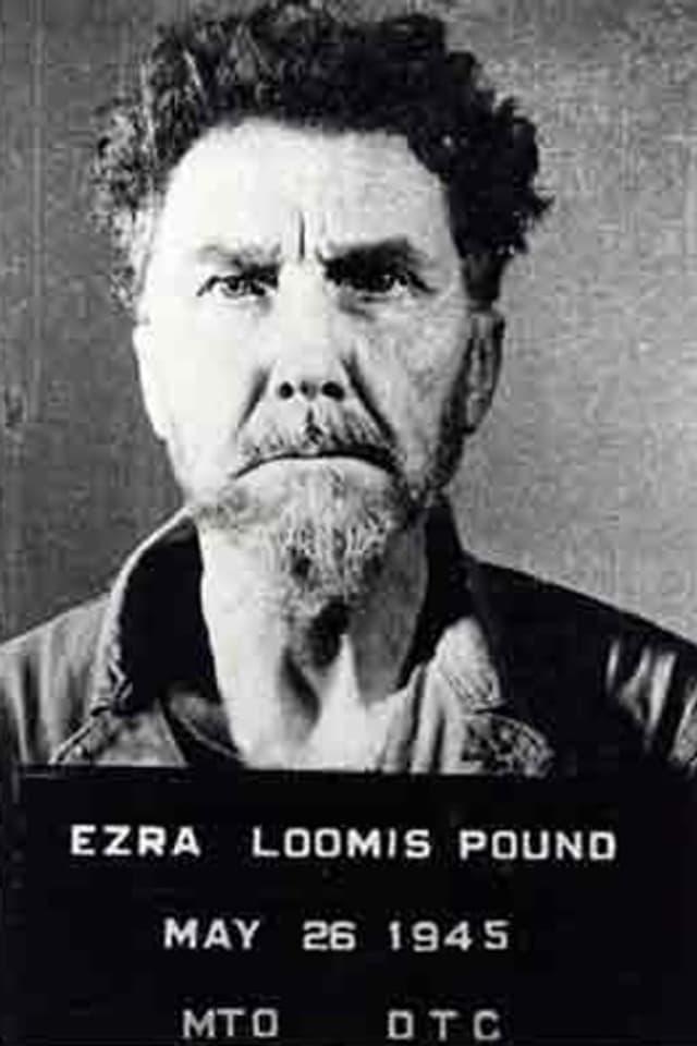 Ein Porträt von Ezra Pound, darunter eine Tafel mit der Aufschrift «Ezra Loomis Pound, May 26 1945».