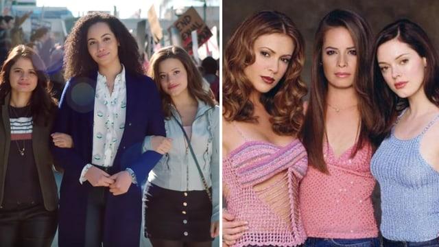 Links die neuen Charmed-Hexen, rechts das Original aus den 90ern.