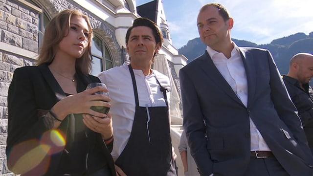 Justine Humm mit Freund Nenad Mlinarevic (Mitte) und Vater Daniel Humm (rechts).