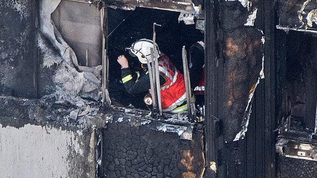 Ein Feuerwehrmann untersucht in einem abgebranten Gebäude.