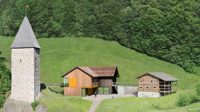 Visualisierung des Holzhauses und des Informationszentrums