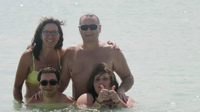 famiglia en quatter en il mar