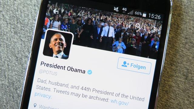 Twitterprofil von Barack Obama als POTUS.