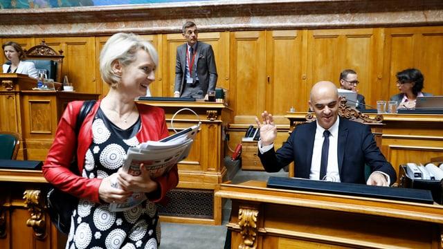 Cusseglier federal Alain Berset e cussegliera naziunala Isabelle Moret