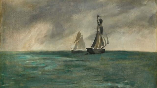 Ein Gemäde von zwei Segelschiffen