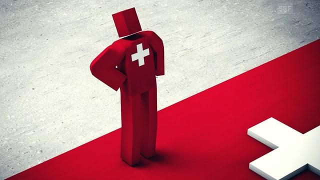 Mann mit Schweizerkreuz stemmt Arme in die Hüfte.