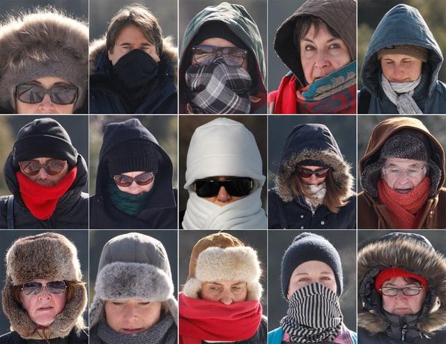 15 kleine Fotos von Menschen mit Kappfen, Schals und Kapuzen weil es sehr kalt ist.