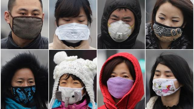 Personen mit Gesichtsmasken.