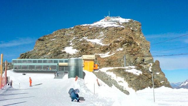 Das Kleine Matterhorn mit Modellzeichnung.