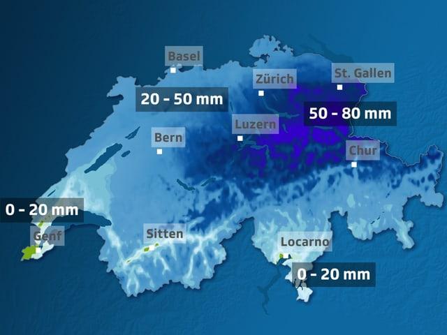 Schweizer Karte, 50 - 80 mm im Osten.
