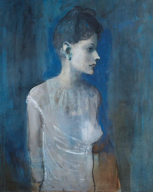 Porträt-Gemälde einer Frau in einem weissen Kleid vor blauem Hintergrund