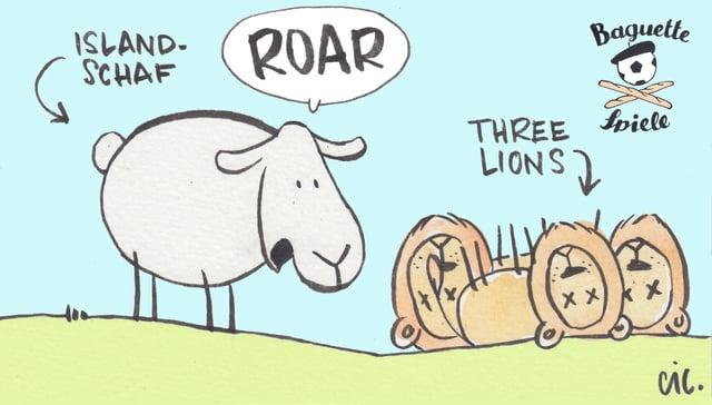 Drei Löwen liegen vor einem Schaf.