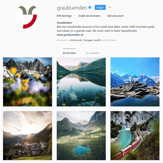 Uschia vesa il conto da Instagram da Grischun Vacanzas ora.