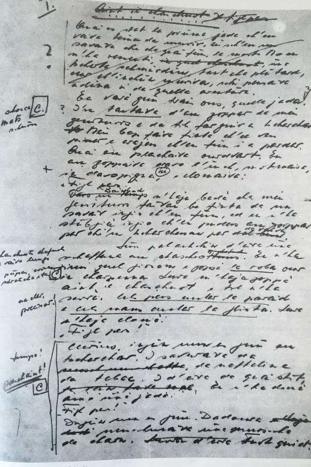 "L'emprima pagina dal mauscrit da Cla Biert per sia istorgia ""Aint il chaschuolt"""
