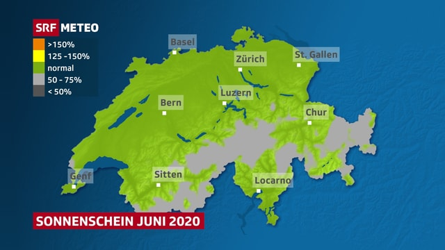 Schweizer Karte mit der Sonnenscheindauer im Juni 2020.
