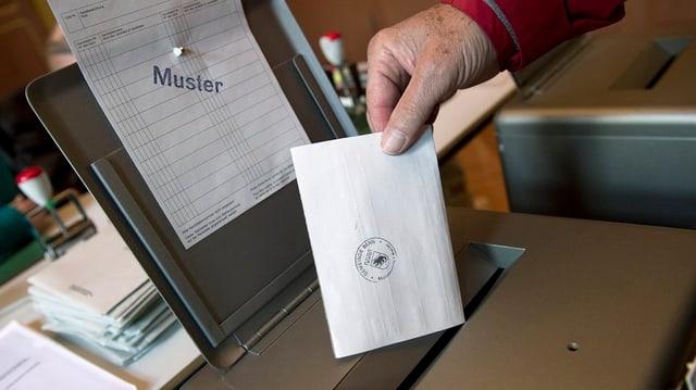 Wahlurne mit Hand, die einen Wahlzettel einwirft.