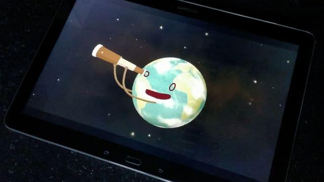 Illustration einer Erde mit Gesicht, die mit einem Fernrohr ins Weltall