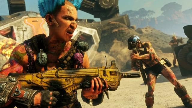 Rage 2 ist voller verrückter Ödländer, wie beispielsweise diesem Herr mit blauer Doppelirokesenfrisur und gelber Waffe.