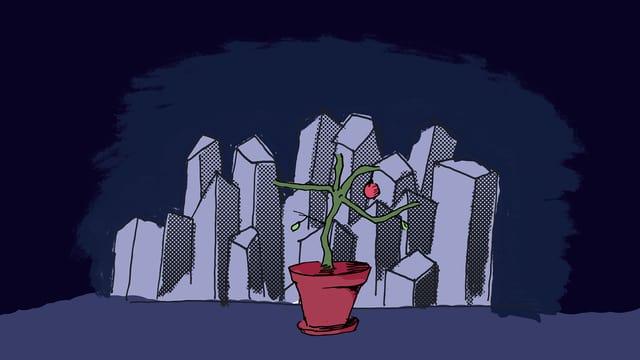 Illustration: Pflanze vor abstrahierten Hochhäusern.