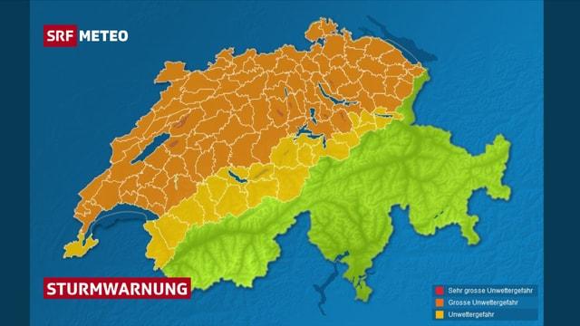 Eine Schweizerkarte und eingezeichnet die gefährdeten Gebiete.