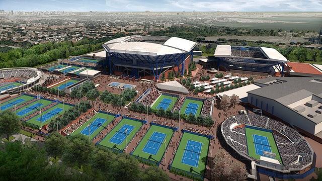 Eine Fotomontage zeigt das neue Dach des Arthur-Ashe-Stadiums
