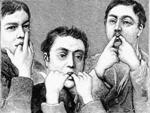 Eine Zeichnung von drei Männern, die mit den Fingern im Mund pfeifen.