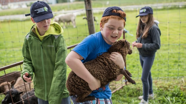 Auf dem Bauernhof kommen die Kinder in Kontakt mit den Tieren