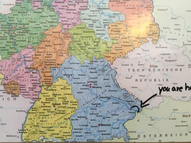 Karte mit Deutschland.