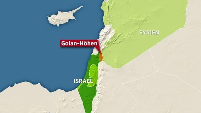 Karte mit Israel, den Golan Höhen und Syrien