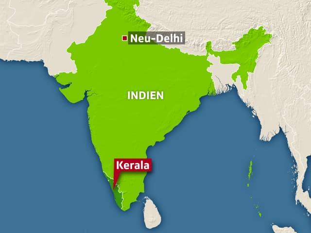 Karte mit Kerala im Süden Indien.