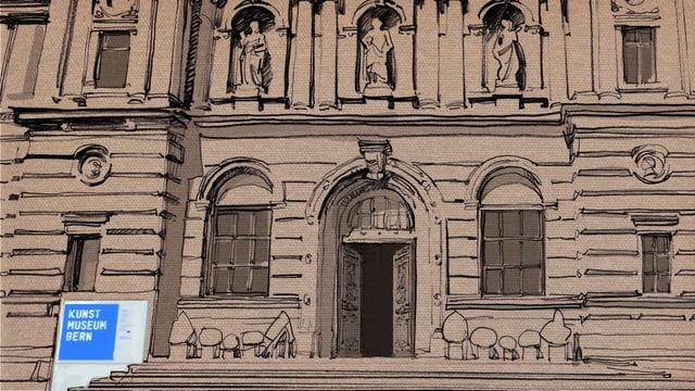 Zeichnung Fassade Kunstmuseum Bern