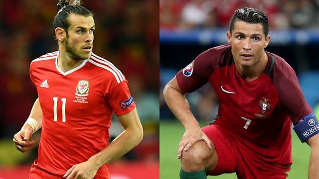 purtret dals ballapedists Gareth Bale e Cristiano Ronaldo