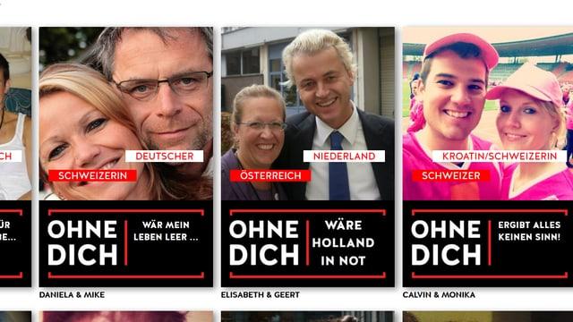 Porträts von Geert Wilders und Elisabeth Sabaditsch-Wolff.
