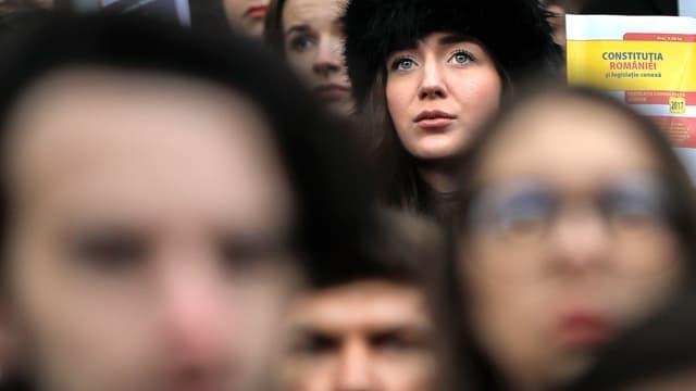 Aufnahme von Protestierenden in Rumäniens Hauptstadt Bukarest.