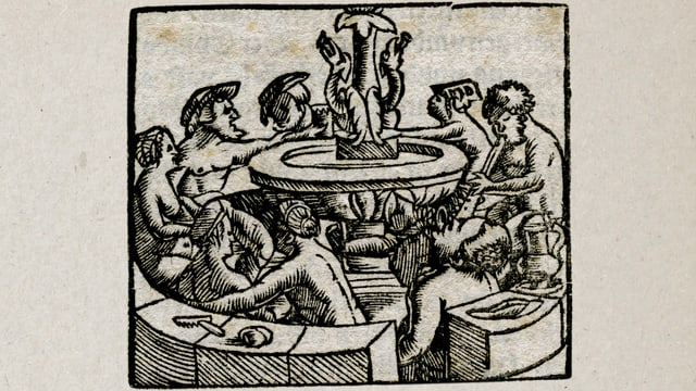 Alter Holzschnitte: Nackte Männer und Frauen sitzen um einen Brunnen.