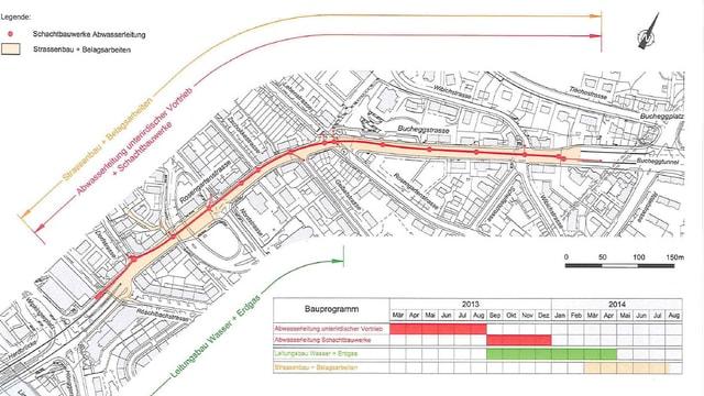 Strassenplan der Baustelle.